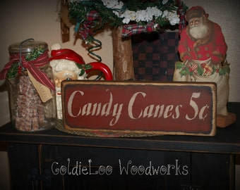 Primitive, Folk Art, Candy Canes 5 cents,Christmas sign