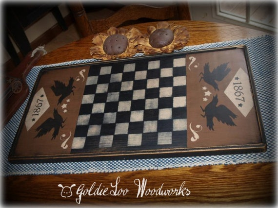 Game Board,Primitive, Folk Art, Talking Crows 1867 Checkerboard