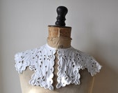 Antique French Broderie Anglaise Shaped Collar
