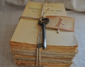 Vintage French Book Bundle - Shabby Chic Home Decor - Tied with Vintage Key