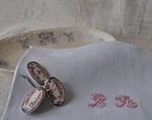 French Country White Monogrammed Vintage Cloth