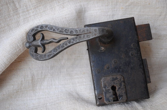 Vintage French Lock with Fancy Handle