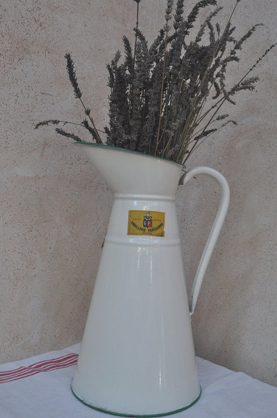 Reserved for Anna - French Country Vintage Enamel Pitcher - Tall, Cream Coloured  with Original Label