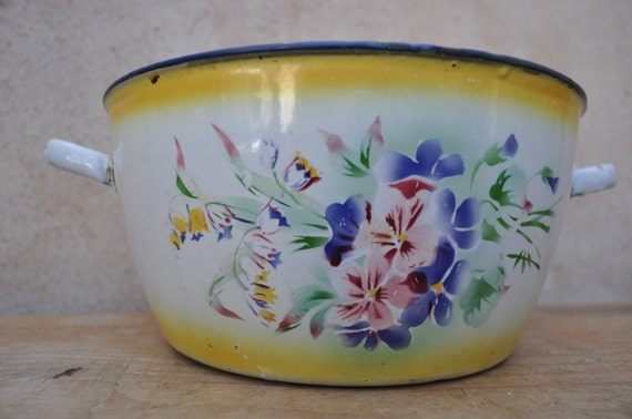 Vintage French Country Painted Enamel Bowl