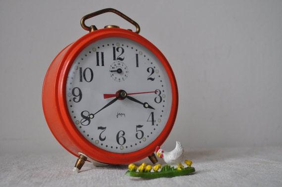 French Vintage Working Alarm Clock - Japy Orange