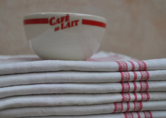 Vintage French Linen Cloth with Red Stripes and Monogram 'SL'