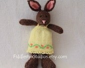 Hand Knit Bunny - OOAK Chocolate Brown Stuffed Toy Rabbit Ready to Ship