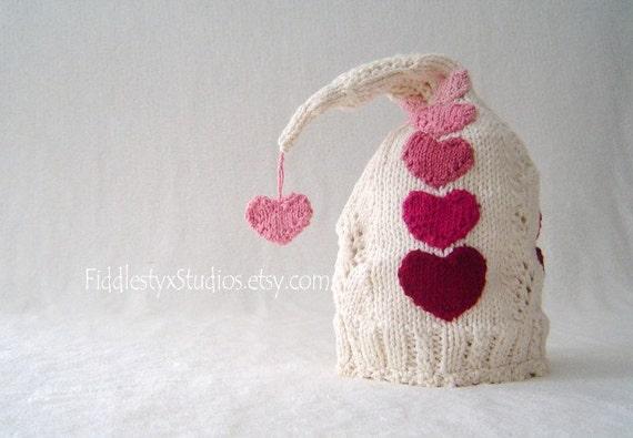 cc2f63e635b Baby Valentine Hat - Hand Knit Hat - Red Pink Heart Pixie Hat (Newborn