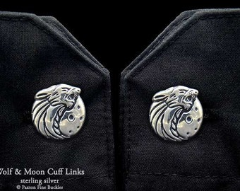 Wolf Howling with Moon Cuff Links Sterling Silver