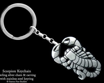 Scorpion Scorpio Keychain / Keyring Sterling Silver
