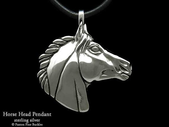 Horse Head Pendant Necklace Sterling Silver