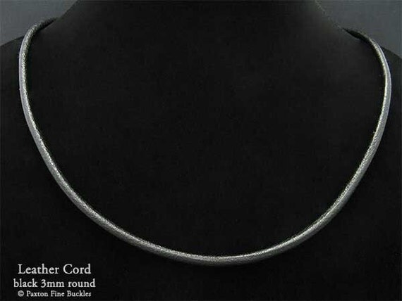 3mm Genuine Black Leather Cord Necklace with Sterling Silver Fittings - Perfect for my Pendants
