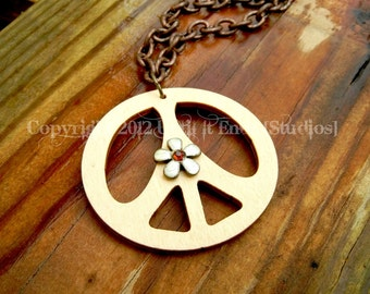 Wooden Peace Sign Statement Necklace