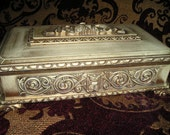 Vintage French Chic High Relief Classic Jewelry,Letter Treasure Box/Casket Hollywood Regency