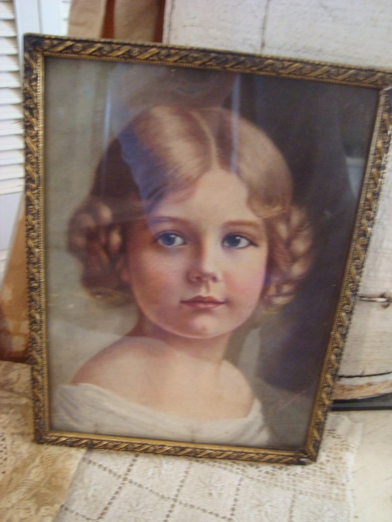Vintage  Cottage Picture Victorian Girl/Young Lady wood framed Shabby Chic