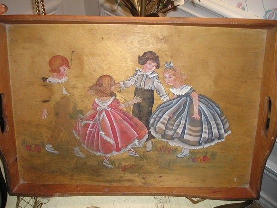 Shabby Folk Art Vintage Scandinavian /Swedish Primitive wood tray hand painted children Cottage Chic