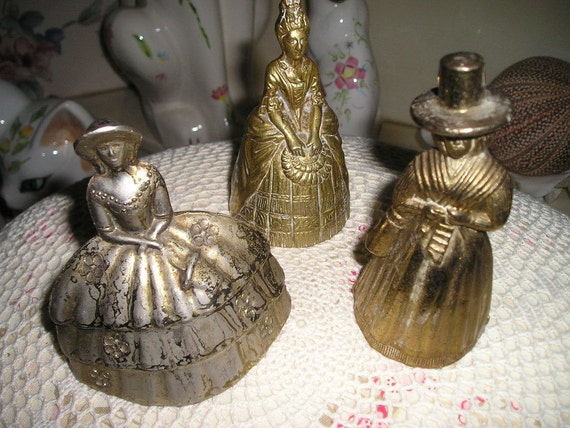 Vintage Victorian set of 3 English Brass Abbey Bells shabby fabulous Parlor Bells Cottage chic