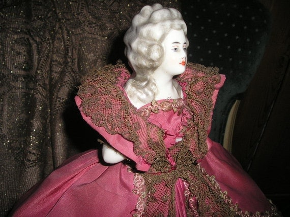 Vintage Lady Lamp Cage Doll Magnificent Porcelain half body Madame Pompadour..
