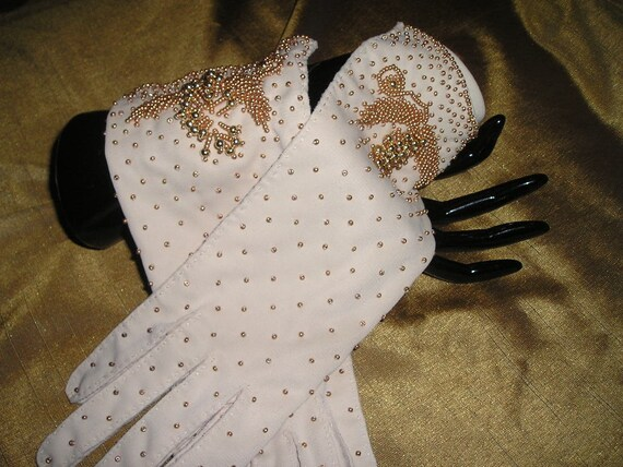 Vintage Glamorous pr.Ladies Jeweled,beaded fancy dressup,party Gloves hand made MIB..
