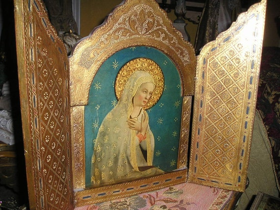 Exquisite Lg.Old Hand Decorated Italian Florentine Virgin Mary/Madonna Gilt Wood ReligiousTriptych Icon