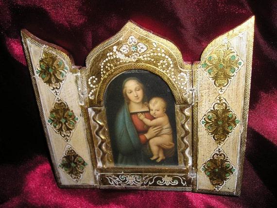 Religious Italian Catholic Florentine Vintage Gilt wood Travel Triptych Icon Raphaels Madonna&Baby Jesus