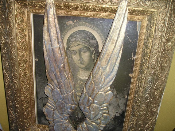 Fabulous Gold Gilded/Light blue Painted Spiritual Angel Wings Primitive Wood Carved Wings Shabby..