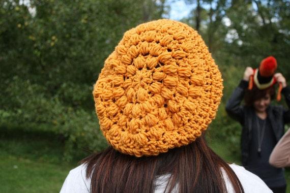 Puff stitch beret, in mustard. SALE.