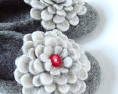 Felted natural wool slippers. Grey