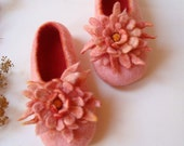 RESERVED Handmade Felted  slippers with flower decoration RESERVED