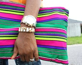 Bold Neon Striped Vintage Oversized Clutch