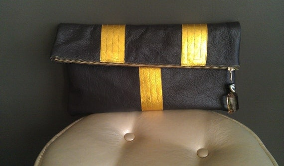 Oversized Chocolate Brown with Metallic Yellow Leather Clutch