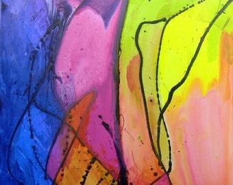 Tropicales  48 x 36 x .75   Large art, abstract art, blue, yellow, orange, surreal art,  acrylic, paul harrington, original art