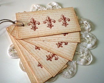 French Inspired Fleur De Lis Gift Tags, French Favor Tags, French Pricing Tags
