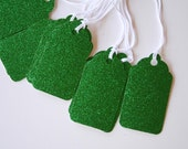 Green Glitter Gift Tags (10)- Buy 2, Get 1 Free