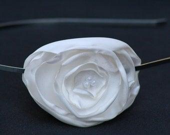 White Satin Flower Headband