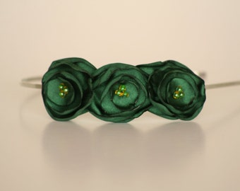 Green Satin Flower Headband