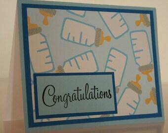 Baby Boy Card- Congratulations w/ Baby Bottles