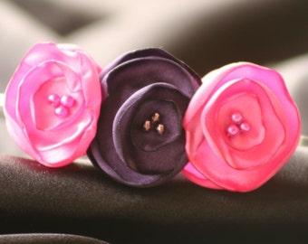 Carnation and Purple Satin Flower Headband