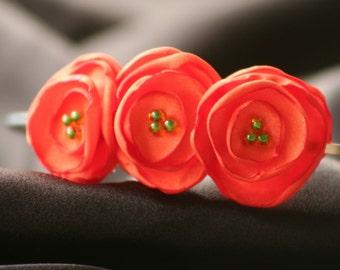 Orange Satin Flower Headband