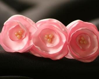 Pale Pink Satin Flower Headband