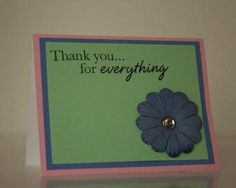 Thank You Card-  Blue Flower
