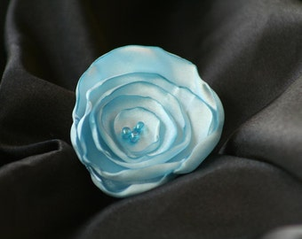 Sky Blue Satin Flower Hair Clip