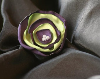 Purple and Lime Green Satin Flower Hair Clip