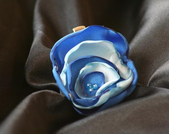 Royal Blue and Sky Blue Satin Flower Hair Clip