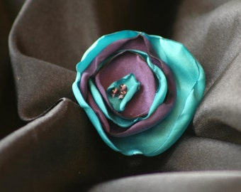 Turquoise and Purple Satin Flower Hair Clip