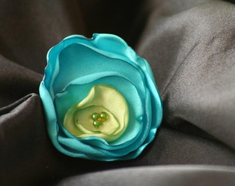 Turquoise and Lime Green Satin Flower Hair Clip