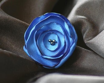 Royal Blue Satin Flower Hair Clip