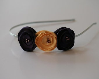 Purple and Yellow Satin Flower Headband