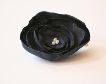 Navy Blue Satin Flower Hair Clip