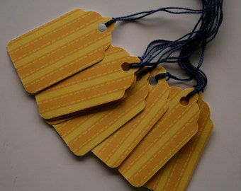 Yellow Striped Gift Tags (10)